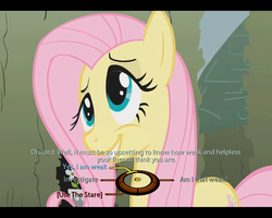 Size: 750x600 | Tagged: dead source, source needed, useless source url, safe, edit, edited screencap, screencap, discord, fluttershy, earth pony, pony, the return of harmony, crossover, dialogue wheel, female, mare, mass effect, solo