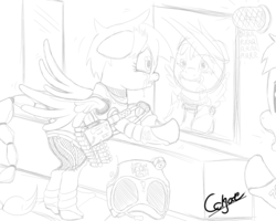 Size: 1280x1024   Tagged: safe, artist:colgatefim, oc, oc only, oc:sunset sherbet, unnamed oc, pegasus, pony, fallout equestria, armor, battle saddle, black and white, clothes, crying, dashite, duo, enclave armor, fanfic, fanfic art, fear, female, grayscale, gun, hooves, lineart, mare, monochrome, power armor, simple background, soldier, traditional art, uniform, weapon, white background, wings