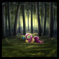Size: 1056x1056   Tagged: dead source, safe, artist:mylafox, fluttershy, butterfly, pegasus, pony, colored pupils, female, forest, grass, mare, photoshop, prone, solo