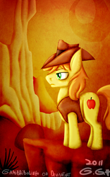 Size: 500x800 | Tagged: artist:gamibrii, braeburn, desert, earth pony, first braeburn picture on derpibooru, male, over a barrel, pony, reflection, safe, serious, serious face, solo, stallion, standing