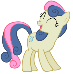 Size: 3000x3047 | Tagged: safe, artist:shelmo69, bon bon, sweetie drops, earth pony, pony, adorabon, cute, eyes closed, female, happy, high res, mare, open mouth, photoshop, simple background, smiling, solo, standing, transparent background
