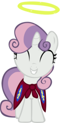 Size: 1877x3787 | Tagged: safe, artist:gurugrendo, sweetie belle, pony, unicorn, stare master, cape, clothes, cmc cape, cute, diasweetes, dubs, female, filly, get, halo, happy, photoshop, simple background, solo, transparent background, vector