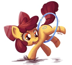 Size: 700x630 | Tagged: safe, artist:don-ko, apple bloom, earth pony, pony, the cutie pox, adorabloom, alternate cutie mark, apple bloom's bow, bow, cute, cutie mark, cutie pox, female, filly, hair bow, hoop, loop-de-hoop, photoshop, puddle, simple background, solo, white background