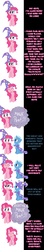 Size: 1000x5685 | Tagged: safe, artist:undead-niklos, pinkie pie, trixie, earth pony, pony, unicorn, comic:pinkie pie says goodnight, blue text, comic, duo, duo female, female, get, hat, mare, photoshop, pink text, repdigit milestone, trixie's hat, wizard hat