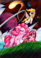 Size: 800x1127 | Tagged: safe, artist:lavosvsbahamut, pinkie pie, surprise, earth pony, pegasus, pony, blushing, breaking the fourth wall, broken, colored pencil drawing, coloured pencil, comet, complex background, crack, epic, eyes closed, female, flying, fourth wall, fourth wall destruction, frown, g1, g1 to g4, g4, galloping, gel pen, generation leap, grass, mare, open mouth, photoshop elements, pinkamena diane pie, planet, planetary ring, running, self ponidox, smiling, space, stars, sweat, sweatdrop, traditional art, trinity pie, trio, trio female, watercolor painting, watercolour