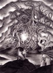 Size: 900x1253   Tagged: safe, artist:lavosvsbahamut, rainbow dash, trixie, twilight sparkle, pegasus, pony, unicorn, 228, elder sign, eldritch abomination, element of destruction, female, get, grayscale, index get, mare, monochrome, photoshop elements, tattoo, trio, trio female