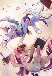 Size: 863x1252 | Tagged: safe, artist:mi-eau, princess luna, twilight sparkle, alicorn, pony, unicorn, book, colored pupils, duo, duo female, falling, female, floating, flying, hoof shoes, levitation, magic, mare, open mouth, s1 luna, studying, surreal, telekinesis, unicorn twilight