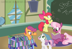 Size: 1800x1238 | Tagged: dead source, safe, artist:egophiliac, apple bloom, cheerilee, scootaloo, sweetie belle, butterfly, earth pony, pegasus, pony, unicorn, call of the cutie, adorabloom, apple, apple bloom's bow, book, book fort, book hat, bow, chalk, chalkboard, cheeribetes, classroom, colored pupils, curtains, cute, cutealoo, cutie mark crusaders, diasweetes, female, filly, foal, food, globe, hair bow, heart, lying down, mare, narrowed eyes, open mouth, ponyville schoolhouse, prone, school, story time, window, writing