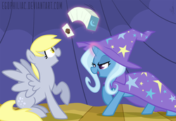 Size: 1800x1238 | Tagged: dead source, safe, artist:egophiliac, derpy hooves, trixie, pegasus, pony, unicorn, boast busters, card, colored pupils, cute, derpabetes, diatrixes, duo, duo female, female, food, glowing horn, levitation, lidded eyes, magic, magic show, magic trick, mare, mischievous, muffin, open mouth, raised hoof, shadow, smiling, telekinesis