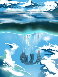 Size: 1200x1600 | Tagged: safe, artist:swaetshrit, dj pon-3, vinyl scratch, pony, unicorn, cloud, cloudy, diving, falling, female, mare, ocean, sinking, sky, solo, surreal, water, wet
