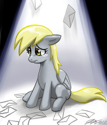 Size: 660x766 | Tagged: ;-;, 300, artist:johnjoseco, crying, cute, daaaaaaaaaaaw, derpabetes, derpy hooves, envelope, female, floppy ears, get, index get, letter, looking down, mail, mare, pegasus, photoshop, pony, sad, sadorable, safe, save derpy, sitting, solo, spotlight, teary eyes