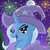 Size: 1000x1000   Tagged: dead source, safe, artist:arcum89, trixie, pony, unicorn, boast busters, g4, building, canterlot, female, fireworks, looking at you, mare, mare in the moon, moon, night, open mouth, pi, sky, smiling, solo, trixie's cape, trixie's hat