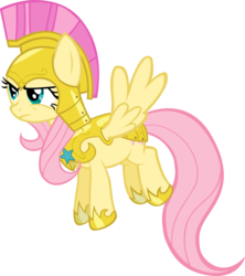 Size: 3550x4000 | Tagged: safe, artist:spaceponies, fluttershy, pegasus, pony, female, flutterbadass, hoof shoes, mare, royal guard armor, simple background, solo, transparent background, vector, war face