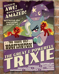 Size: 600x746 | Tagged: safe, artist:shuffle001, trixie, demon pony, pony, unicorn, boast busters, brick wall, classic art, female, looking at you, mare, poster, trio, trixie's cape, trixie's hat