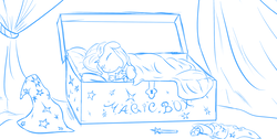 Size: 1541x774 | Tagged: dead source, safe, artist:rubrony, trixie, pony, unicorn, bed, cape, chest, clothes, cute, diatrixes, doll, eyes closed, female, filly, filly trixie, floppy ears, hat, monochrome, on side, simple background, sketch, sleeping, smiling, solo, teddy bear, toy, trixie's cape, trixie's hat, white background, younger