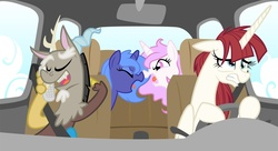 Size: 1750x950 | Tagged: alicorn, alicorn oc, angry, argument, artist:equestria-prevails, boop, braces, car, cellphone, cewestia, discord, draconequus, driving, eyes closed, female, filly, first discord picture on derpibooru, floppy ears, glare, gritted teeth, hoof hold, lauren faust, mare, messy mane, noseboop, oc, oc:fausticorn, open mouth, phone, photoshop, pink-mane celestia, pony, princess celestia, princess luna, safe, smiling, stressed, teenage discord, tongue out, woona, yelling, younger