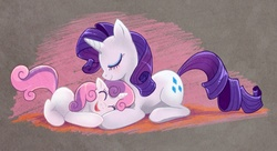 Size: 867x471 | Tagged: dead source, safe, artist:saphamia, rarity, sweetie belle, pony, unicorn, belle sisters, chalk, cute, diasweetes, duo, duo female, female, filly, happy, mare, photoshop, raribetes, sisters, sweetielove