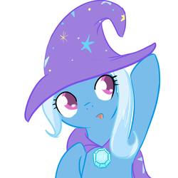 Size: 1000x1000 | Tagged: safe, artist:theparagon, trixie, pony, unicorn, cape, clothes, cute, diatrixes, female, filly, filly trixie, foal, hat, simple background, solo, trixie's cape, trixie's hat, white background, younger