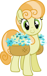 Size: 1988x3163 | Tagged: safe, artist:breadking, junebug, earth pony, pony, secret of my excess, background pony, basket, female, flower, happy, inkscape, looking at you, mare, simple background, solo, transparent background, vector