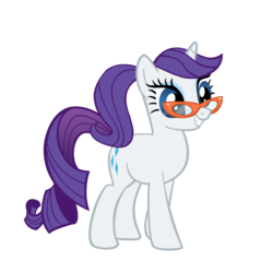 Size: 900x900 | Tagged: safe, artist:rarity6195, rarity, pony, unicorn, alternate hairstyle, female, glasses, mare, ponytail, rarity's glasses, simple background, smiling, solo, transparent background, vector