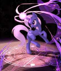 Size: 1300x1500 | Tagged: dead source, safe, artist:php58, trixie, pony, unicorn, bipedal, butt, cape, clothes, epic, featured image, female, frown, glare, glowing horn, hat, looking back, magic, magic circle, mare, open mouth, plot, raised leg, rearing, runes, solo, trixie's cape, trixie's hat, underhoof