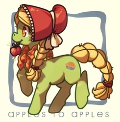 Size: 570x582 | Tagged: dead source, safe, artist:maybirds, granny smith, earth pony, pony, family appreciation day, apple, female, filly, photoshop, solo, square, young granny smith