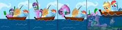 Size: 2132x533 | Tagged: safe, artist:cgeta, applejack, octavia melody, rainbow dash, twilight sparkle, earth pony, monster pony, octopony, original species, pegasus, pony, unicorn, boat, circling stars, comic, cowboy hat, diving, eyes closed, fail, female, fishing, floppy ears, frown, hat, laughing, mare, octaviapus, rock, sleeping, smiling, snorkel, stetson, this will end in a wheelchair, trio, underwater, water