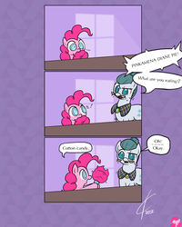 Size: 1600x2000 | Tagged: safe, artist:valcron, cloudy quartz, pinkie pie, earth pony, pony, the cutie mark chronicles, bait and switch, comic, cotton candy, cute, dialogue, diapinkes, duo, duo female, eating, female, filly, food, full name, glasses, mare, misunderstanding, mother and daughter, pinkamena diane pie, speech bubble