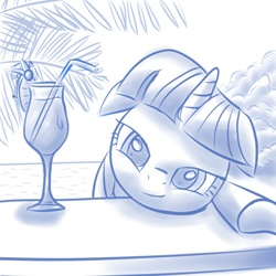 Size: 1000x1000 | Tagged: safe, artist:rayhiros, twilight sparkle, pony, unicorn, 1 hour drawing, alcohol, bedroom eyes, cocktail, drunk, drunk twilight, female, floppy ears, looking at you, mare, monochrome, paint tool sai, smiling, solo, swimming pool