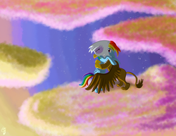 Size: 2500x1932 | Tagged: artist:chaosdrop, cloud, cloudy, comicstudio, duo, duo female, eyes closed, female, gilda, griffon, griffon the brush off, hooves, hug, mare, on a cloud, pegasus, pony, rainbow dash, safe, sky, wings