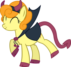 Size: 5658x5287 | Tagged: dead source, safe, artist:quanno3, carrot top, golden harvest, earth pony, pony, absurd resolution, adobe imageready, clothes, costume, cute, cutie top, devil, eyes closed, female, happy, mare, nightmare night, raised hoof, raised leg, simple background, smiling, solo, transparent background