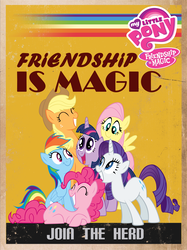 Size: 2568x3428 | Tagged: applejack, artist:btedge116, earth pony, female, fluttershy, happy, high res, join the herd, mane six, mare, my little pony logo, pegasus, photoshop, pinkie pie, pony, poster, propaganda, rainbow dash, rarity, safe, twilight sparkle, unicorn