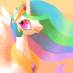 Size: 600x600 | Tagged: alicorn, artist:reuniclus, bust, crown, dead source, female, gradient background, jewelry, liarlestia, looking away, looking back, mare, nose wrinkle, pony, princess celestia, regalia, safe, scrunchy face, solo, spread wings, wide eyes