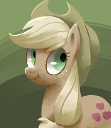 Size: 518x600 | Tagged: dead source, safe, artist:reuniclus, applejack, earth pony, pony, the return of harmony, abstract background, applejack's hat, cowboy hat, discorded, female, frown, hat, liar face, liarjack, looking away, looking back, mare, nose wrinkle, scrunchy face, solo, wide eyes