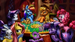 Size: 3840x2160 | Tagged: safe, artist:harwick, angel bunny, applejack, discord, fluttershy, pinkie pie, princess celestia, rainbow dash, rarity, spike, twilight sparkle, dragon, earth pony, pegasus, pony, unicorn, annoyed, big crown thingy, book, bookshelf, candle, card, carrot, cheating, coin, dogs playing poker, duckface, element of harmony, element of magic, eyeshadow, faic, female, floppy ears, freckles, frown, gambling, game, glare, glowing horn, golden oaks library, grin, gritted teeth, grumpy, high res, hoof hold, levitation, library, looking at you, magic, makeup, male, mane seven, mane six, mare, messy mane, mouth hold, photoshop, poker, poker face, pouting, raised hoof, reading, smiling, smirk, smug, smugdash, table, telekinesis, twilight snapple, unamused, unicorn twilight, wall of tags, wallpaper, wide eyes
