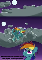 Size: 620x877 | Tagged: safe, artist:rannva, rainbow dash, pegasus, pony, cloud, cloudy, female, filly, foal, moon, photoshop, smiling, younger