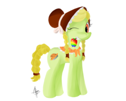 Size: 2500x2000 | Tagged: dead source, safe, artist:archendio, granny smith, earth pony, pony, female, high res, looking at you, mare, mouth hold, one eye closed, simple background, solo, transparent background, wink, young granny smith, zap apple