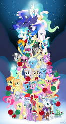 Size: 1333x2500 | Tagged: safe, artist:empty-10, allie way, aloe, angel bunny, apple bloom, applejack, berry punch, berryshine, bon bon, carrot top, cheerilee, daisy, derpy hooves, diamond tiara, dj pon-3, fleur-de-lis, flower wishes, fluttershy, golden harvest, gummy, junebug, lily, lily valley, lotus blossom, lyra heartstrings, mayor mare, minuette, nurse redheart, octavia melody, opalescence, owlowiscious, photo finish, pinkie pie, princess celestia, princess luna, rainbow dash, rarity, roseluck, sapphire shores, scootaloo, screwball, silver spoon, spike, spitfire, sweetie belle, sweetie drops, tank, trixie, twilight sparkle, twist, vinyl scratch, winona, zecora, alicorn, dragon, earth pony, pegasus, pony, unicorn, zebra, apple bloom riding applejack, christmas, christmas tree, cutie mark crusaders, everypony, female, filly, flower trio, frown, glowing horn, grin, gritted teeth, lidded eyes, magic, male, mane seven, mane six, mare, mouth hold, nom, open mouth, owlowiscious riding twilight, pet, photoshop, ponies riding ponies, raised hoof, rearing, riding, scootaloo riding rainbow dash, smiling, smirk, spa twins, spread wings, squee, sweetie belle riding rarity, wall of tags, wide eyes, worried, ⚜