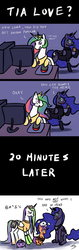 Size: 500x1575 | Tagged: alicorn, artist needed, blob, bwob, comic, computer, female, filly, internet, mare, meme, pegasus, pony, princess celestia, princess luna, safe, scootachicken, scootaloo, source needed, tied up, trio, trollestia