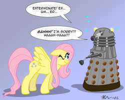 Size: 1000x800 | Tagged: safe, artist:the_gneech, part of a set, fluttershy, pegasus, pony, adobe imageready, crossover, dalek, dialogue, doctor who, female, flutterbadass, gradient background, mare, spread wings, the stare, wings