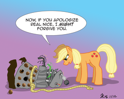 Size: 1000x800 | Tagged: safe, artist:the_gneech, part of a set, applejack, earth pony, pony, adobe imageready, crossover, dalek, destroyed, dialogue, doctor who, female, gradient background, lasso, mare, rope