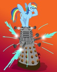Size: 800x1000 | Tagged: safe, artist:the_gneech, part of a set, rainbow dash, pegasus, pony, adobe imageready, crossover, dalek, doctor who, facehoof, female, gradient background, mare, smiling, spread wings, wings