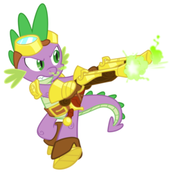 Size: 1700x1700 | Tagged: safe, artist:equestria-prevails, spike, dragon, armor, belt, clothes, dual wield, goggles, gun, male, pistol, shoes, simple background, solo, steampunk, sword, transparent background, vector, weapon