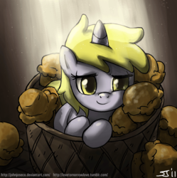 Size: 900x903 | Tagged: adobe imageready, artist:johnjoseco, background pony, cute, dinkabetes, dinky hooves, female, filly, foal, morning ponies, muffin, pony, safe, solo, unicorn