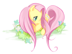 Size: 911x677 | Tagged: safe, artist:aquafeles, fluttershy, pegasus, pony, colored pupils, cute, female, flower, lying down, mare, photoshop, prone, shyabetes, simple background, solo, transparent background