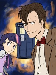 Size: 768x1024 | Tagged: safe, artist:thelivingmachine02, doctor whooves, time turner, twilight sparkle, human, doctor who, eleventh doctor, female, gimp, humanized, looking at you, male, tardis