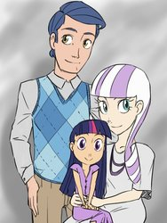 Size: 768x1024 | Tagged: safe, artist:thelivingmachine02, night light, twilight sparkle, twilight velvet, human, abstract background, clothes, dress, family, father and daughter, female, gimp, humanized, husband and wife, male, mother and daughter, nightvelvet, sparkle family, straight, younger