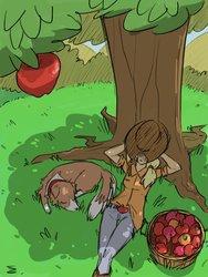Size: 768x1024 | Tagged: safe, artist:thelivingmachine02, applejack, winona, dog, human, apple, applejack's hat, boots, cowboy boots, cowboy hat, dappled sunlight, female, food, gimp, hat, hat over eyes, humanized, nap, on back, sleeping, tree, under the tree