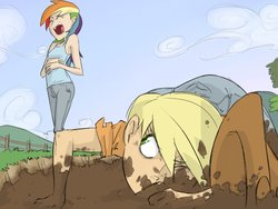 Size: 1024x768 | Tagged: safe, artist:thelivingmachine02, applejack, rainbow dash, human, fall weather friends, applejack's hat, cowboy hat, duo, duo female, female, gimp, hat, humanized, iron pony, laughing, mud, scene interpretation