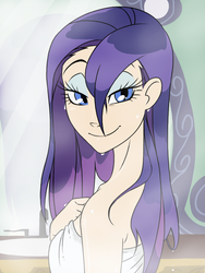 Size: 768x1024 | Tagged: safe, artist:thelivingmachine02, rarity, human, bedroom eyes, breasts, eyelashes, eyeshadow, female, gimp, humanized, indoors, light skin, long hair, looking at you, mirror, naked towel, purple hair, sauna, sink, smiling, solo, standing, towel, wet, wet hair
